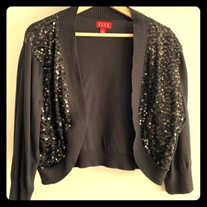 ELLE Sequined Fitted Black Sweater XL - NWOT